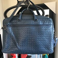 fb049d030c62 Bottega Veneta Prusse Intrecciato Calf Briefcase BLUE Shoulder Strap Men s