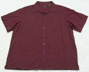 Haggar-Dress-Shirt-Short-Sleeve-Rayon-Polyester-Men-039-s-Burgundy-Red-2XL-Solid-XXL