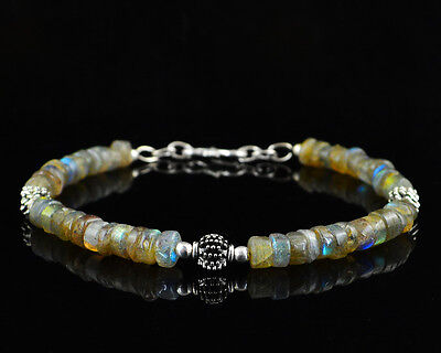 58.00 Cts Natural 8 Inches Long Blue Flash Labradorite Untreated Beads Bracelet