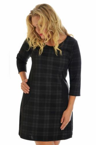 Womens Dress Ladies Tartan Plus Size Bodycon Scotish Check Midi Nouvelle