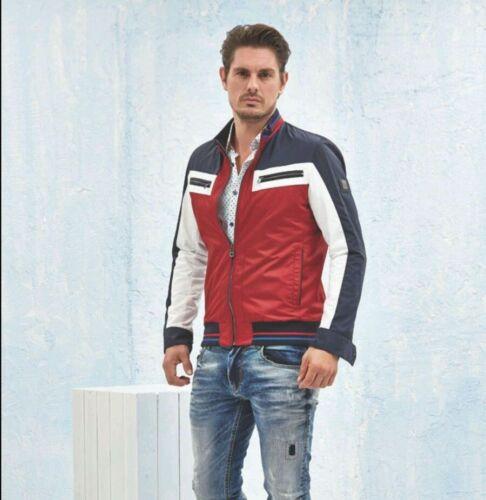 Moda Italiana Giacca Alla Mondo Bianco Nere Zip Uomo Casual Tasche Con rosso w5wRqt