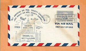 Primer Vuelo 26th Americano Correo Aéreo Soc Convention Oct 7,1949 Chicago Ill