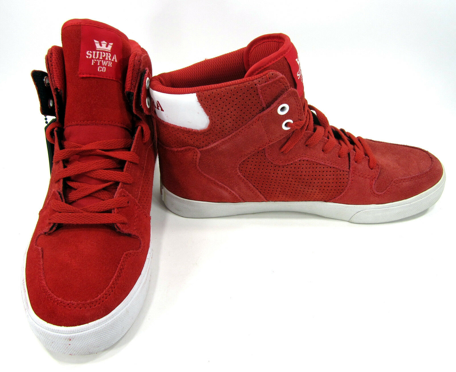 Supra Footwear Shoes Vaider Hi Suede Red/White Sneakers Size 9  .5