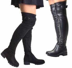50591e0d5a2 Womens Black Treaded High Heel Suede Stretch Wide Calf Fit Over The ...