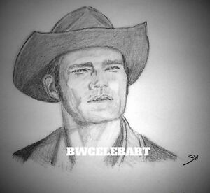 THE RIFLEMAN REALISM GRAPHITE PENCIL DRAWING CHUCK CONNORS LUCAS McCAIN RANCHER