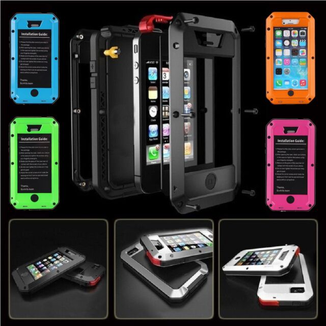 WATERPROOF ALUMINUM GORILLA GLASS METAL COVER CASE FOR iPHONE 4 5 6 AND PLUS *