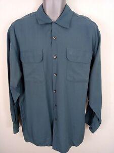 Homme-TOPMAN-Smart-Chemise-Decontractee-Loose-Ajustee-boutonne-2-poches-devant-bleu-M
