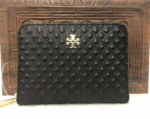 Authentic-New-Tory-Burch-Marion-Embossed-Leather-Coin-Key-Zip-Wallet-Black-Box