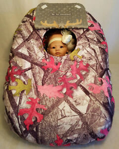 Car Seat Cover Gray Buck Baby Cozy Pink Fleece Custom Embroidery Infant Carrier