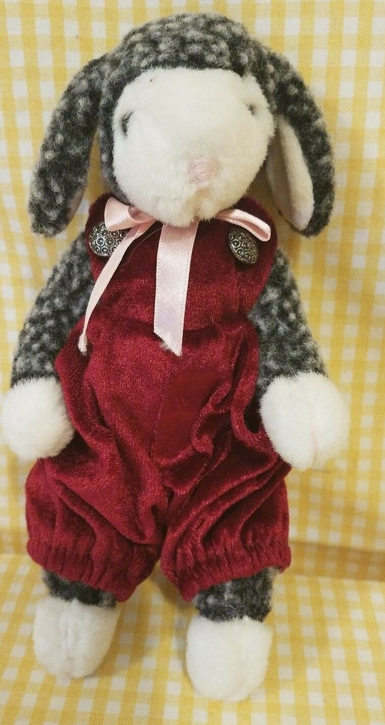 """Ty VTG Attic Treasures Lilly  The Lamb 9"""" Rare W Pink Ribbon Jumpsuit 1992"""
