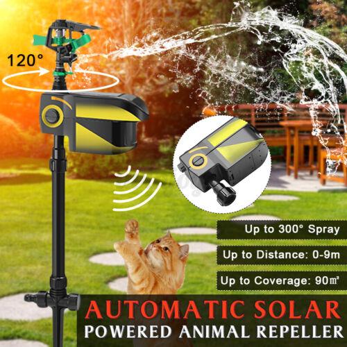 Solar Power Motion Activated Water Animal Dog Cat Repellent Deterrent Sprinkler