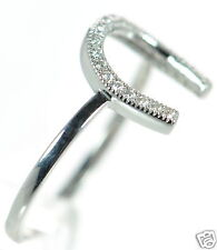 Solid 925 Sterling Silver Clear Pave CZ Horseshoe Ring Size - 7 '
