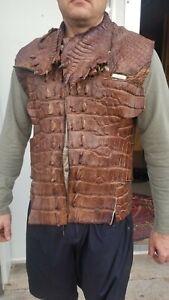 marrón de genuino cocodrilo Chaleco americano 8HqI8O