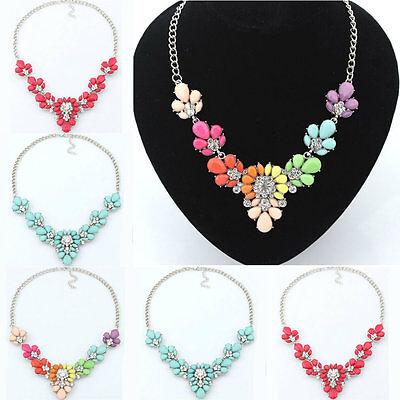 New Crystal Flower Bib Necklace Chunky Bubble Choker Collar Pendant Chain