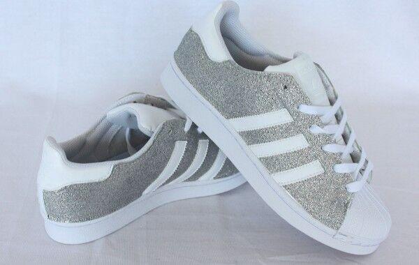 schuhe adidas superstar con glitter fino Silber