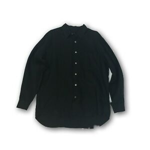 Les-Copains-Sport-Men-039-s-Button-Down-Linen-Shirt-Black-Made-in-Italy-Size-50