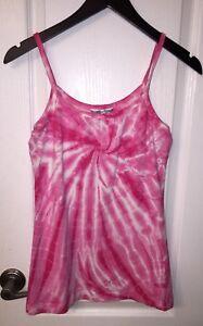 Hard-Tail-Forever-Yoga-Pink-Tie-Dye-Tank-Fitness-Sports-Bra-Shirt-Top-Women-039-s-M