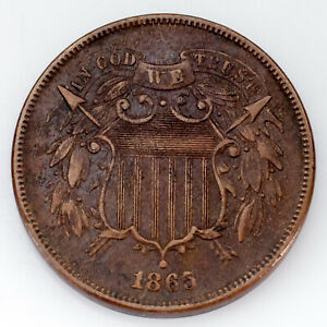 1865-Over-1865-Repunched-Date-Two-Cent-Piece-XF-Condition-FS-2C-002-7-Brown