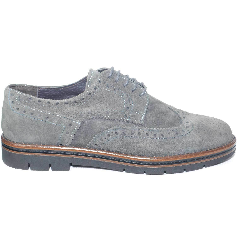 Calzature uomo scarpe francesine stringate uomo  grigio fondo bicolore antiscivo