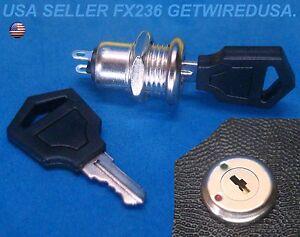 FLUSH-MOUNT-12-VOLT-DC-ON-amp-OFF-LOCK-2-KEY-ROUND-TOGGLE-SWITCH-2-PIN