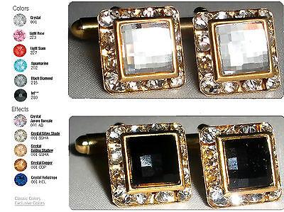 Xmas Wedding Gift Chess Encrusted Crystal Cufflinks made with SWAROVSKI ELEMENTS