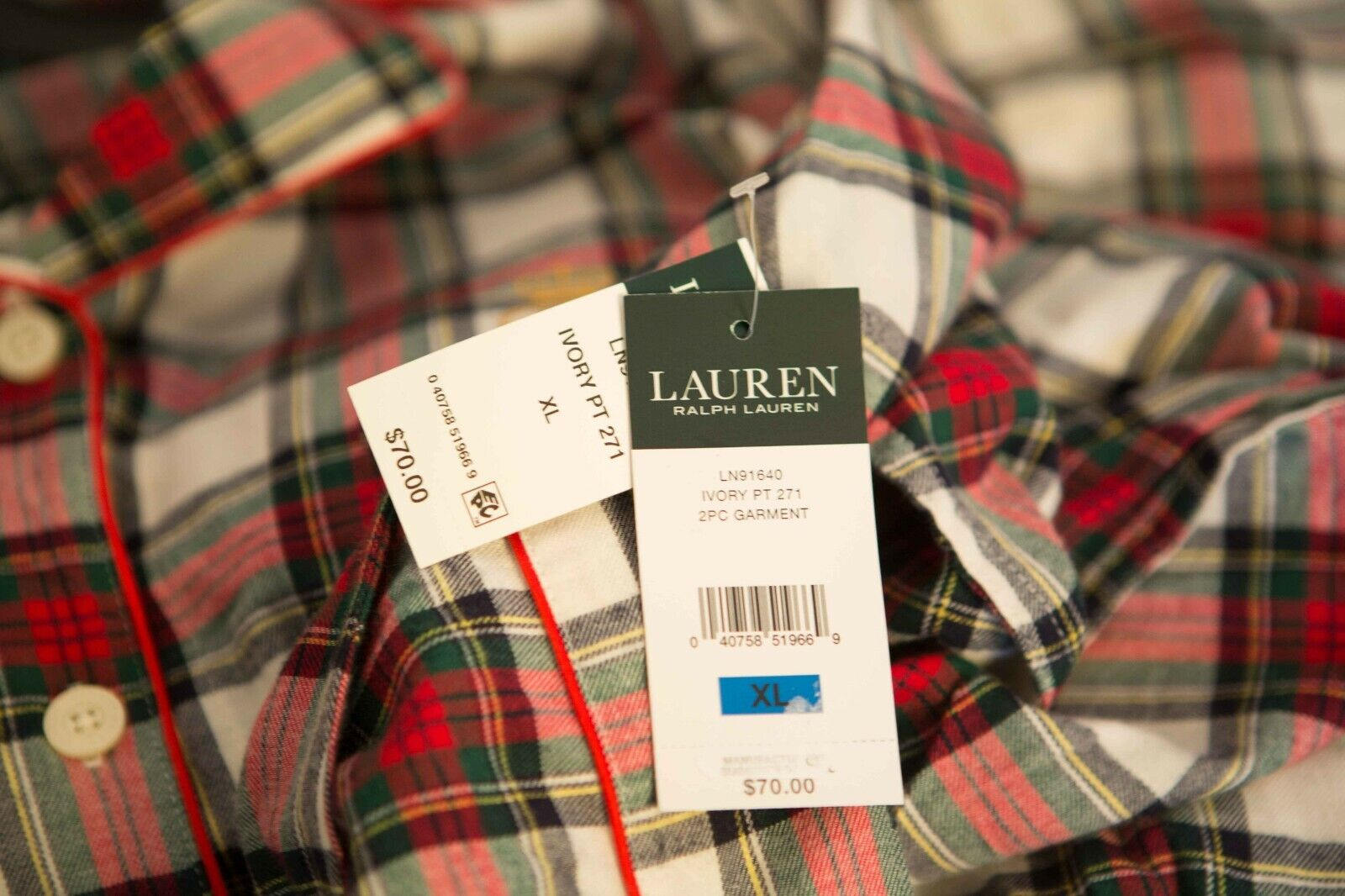 30000edee9c7 ... Lauren Ralph Lauren Sleepwear Brushed Twill Long Sleeve Sleeve Sleeve  Notch Collar PJ Set 900922