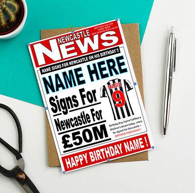 any name//number!! SUNDERLAND FOOTBALL FAN /'HEADLINE/' Personalised Birthday Card