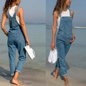 fc1e8eac3aa Details about Women Baggy Denim Jeans Full Length Pinafore Dungaree Overall  Jumpsuit Plus Size