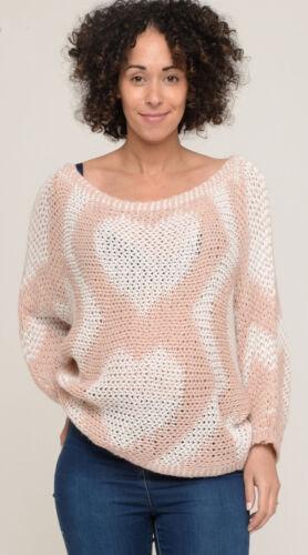 UK Size 14-16 BNWT LV Clothing Italian Knitted Heart Jumper White//Pink