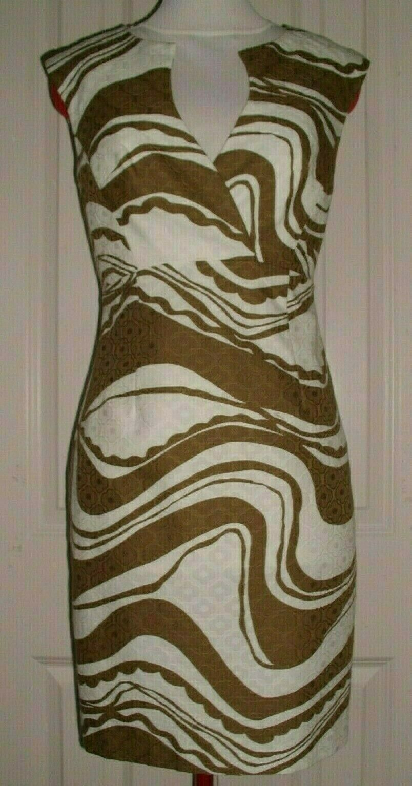 777414e9e52d TRINA TURK WOMEN'S SLEEVELESS SHEATH DRESS FITTED BROWN & WHITE SIZE 2 USA