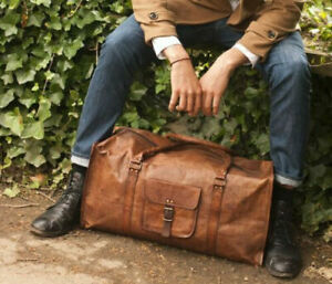 Men-039-s-genuine-vintage-Leather-large-duffle-travel-gym-weekend-overnight-bag