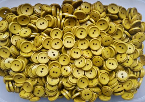 16mm 26L Yellow Gold Mustard 2 Hole Craft Sewing Knitting Buttons Button J29
