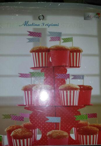 alzatina in cartone rosso a 3 ripiani per muffin cupcakes dolci cake design