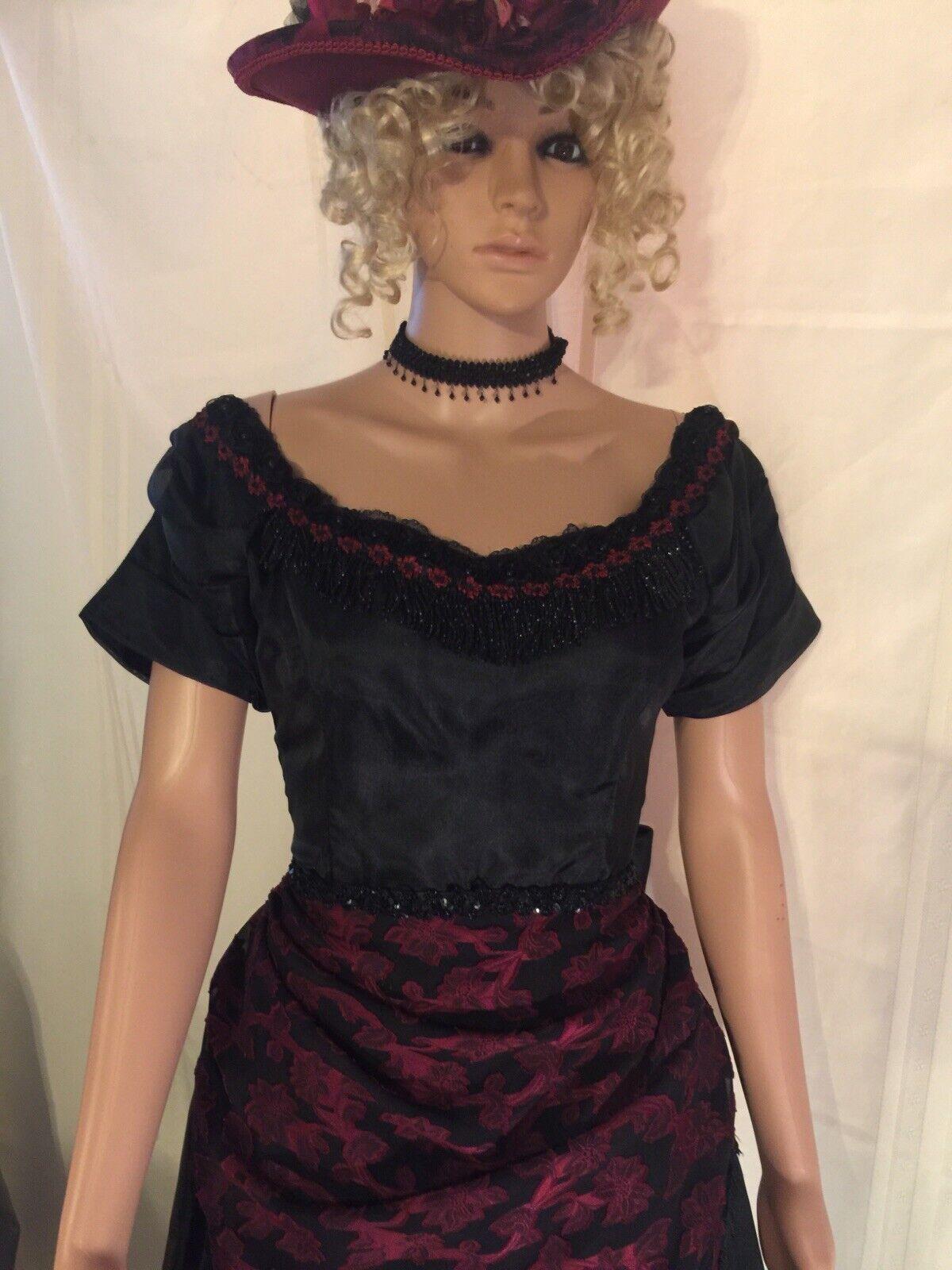 Victorian Black & Burgundy Western Bustle Dress S… - image 2