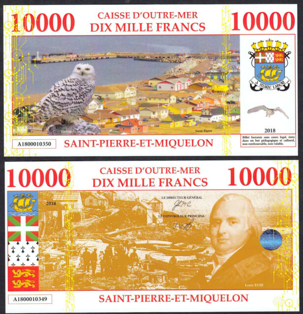 ★★★ SAINT PIERRE ET MIQUELON : BILLET TEST POLYMER 10000 FRANCS ★★