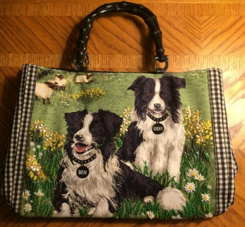 Isabella Fiore Beaded Tote Bag - BORDER COLLIE DOG