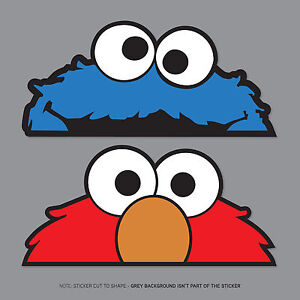 elmo and cookie monster sesame st peeper stickers jdm dub mini
