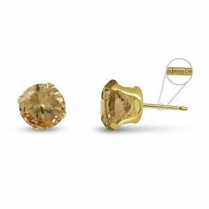 Solid-14K-Gold-Round-Genuine-Golden-Citrine-Stud-Earrings-Choose-Size-2mm-8mm