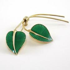 Vintage Albert Scharning Sterling Silver Modernist Green Enamel Leaf Pin Brooch