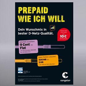 Prepaid Karte Mit Handy.Details Zu Congstar Prepaid Handy Sim Karte 10 Guthaben T Mobile D1 Netz T Com Xtra Card