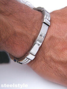 STAINLESS-STEEL-316L-BRACELET-SILVER-GLOSS-MEN-039-S-JEWELLERY-BRACELET-G1