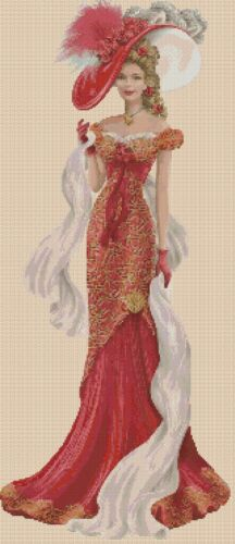 Cross stitch chart  Elegant Lady 156 V  full length Flowerpower37-uk