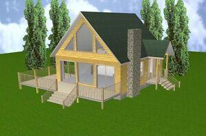 24x28 Cabin W/loft & Basement Plans Package, Blueprints, Material List Laissons Nos Produits Aller Au Monde