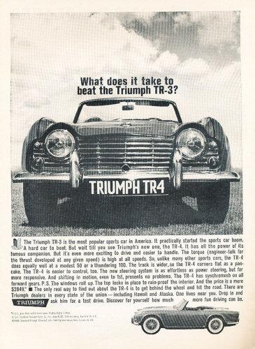 Classic Vintage Advertisement Ad 1962 Triumph TR4 TR-4 Beat TR3
