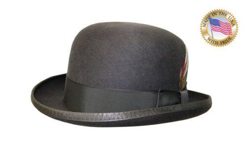 GREY DERBY Hat Shannon Phillips Deluxe Wool Felt Steel Lined Bowler NEW NHT31-02