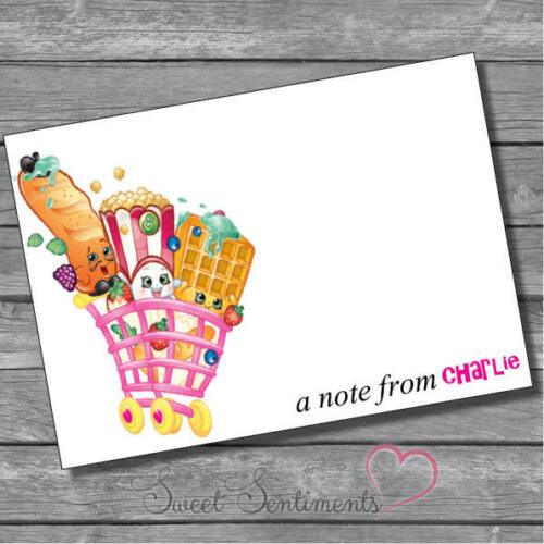 Shopkins Personnalisé Fête D/'Anniversaire inviter grâce carte note12 /& enveloppes