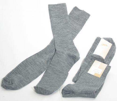 2 Paar Herren Socken 100/% Schafschurwolle Ripprand graumeliert 44//46 26101810