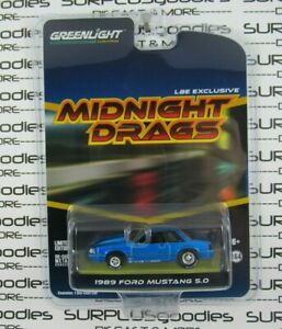 Greenlight-1-64-2019-LBE-Exclusive-Midnight-Drags-Blue-1989-FORD-MUSTANG-LX-5-0
