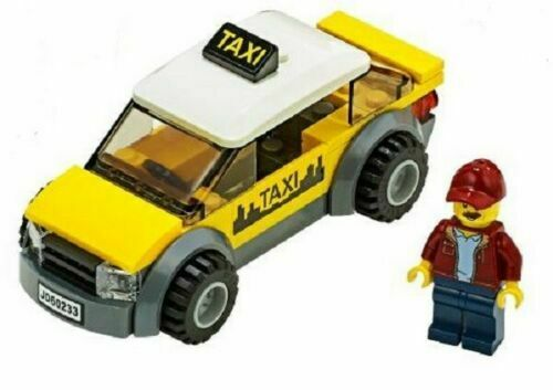 LEGO City Yellow Taxi Cab /& Driver Minifigure Train Town Scenery 60197 60198 NEW