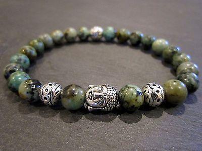 Afrik. Türkis Armband Bracelet Handgefertigt Perlenarmband Buddhakopf vers.Beads